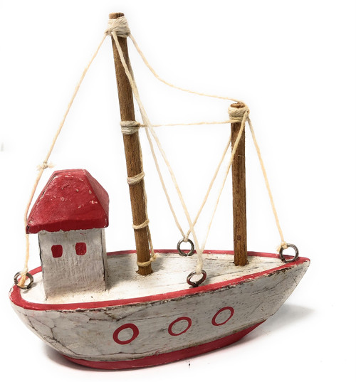 "Decorative Wooden Boat House 6"" - Red Rustic Nautical Accent 