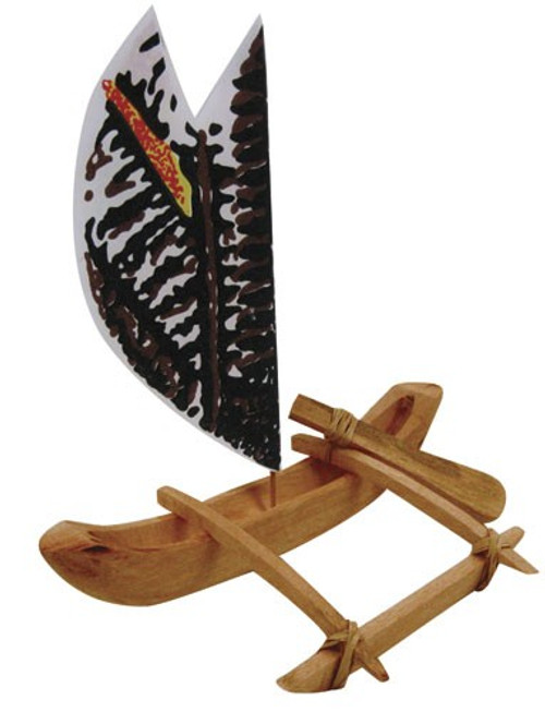 "Voyager Sailing Canoe w/ Tapa Sail - 8.5"" - Corporate Gift"