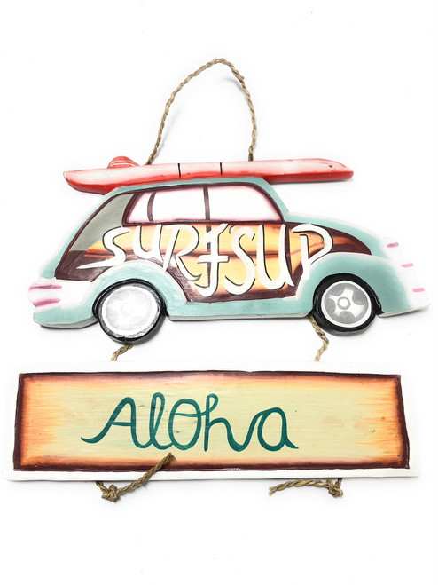 "Surf's Up, Aloha Woody Car Sign 15"" - Surf Decor 