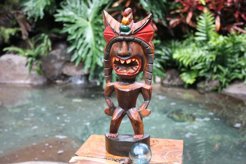 "Money Tiki God 16"" - Hand Carved - Hawaii Treasure 