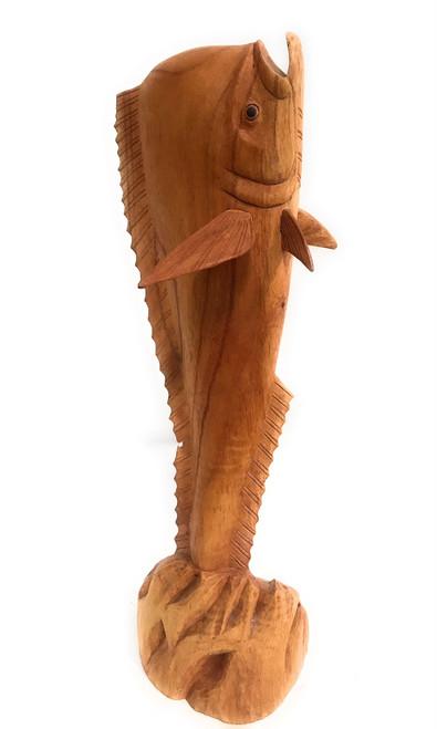 "Standing up Wooden Mahi Mahi 20"" Hand Carved | #ags29007"