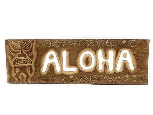 "Aloha Sign 24"" w/ Petroglyph Tribal Designs - Tiki Bar Decor 