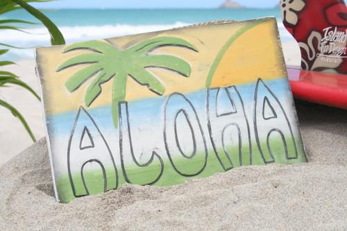 "Rustic Aloha Sign 12"" Sunset & Palm Trees - Beach Style Decor | #dpt522530"