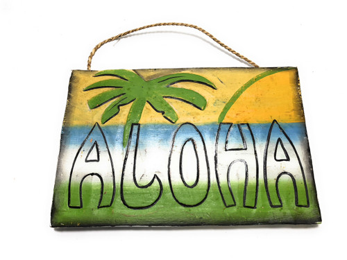 "Rustic Aloha Sign 12"" Sunset & Palm Trees - Beach Style Decor 