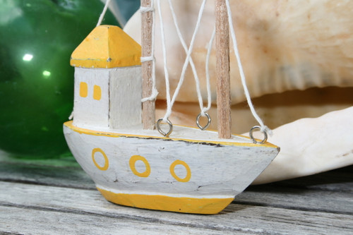 "Decorative Wooden Boat House 6"" - Yellow Rustic Nautical Accent 