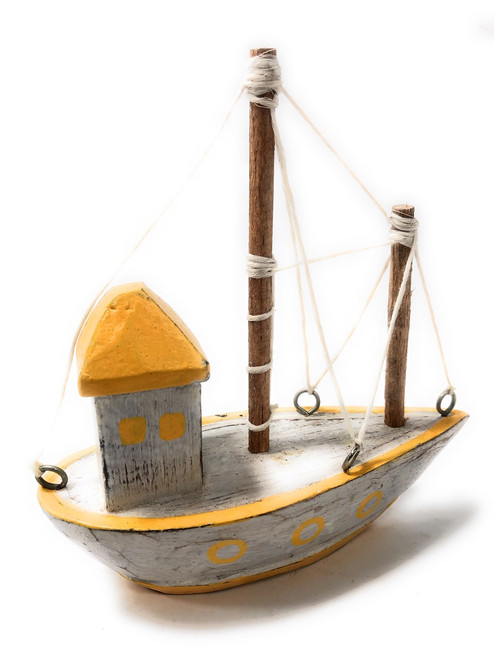 """Decorative Wooden Boat House 6"""" - Yellow Rustic Nautical Accent 