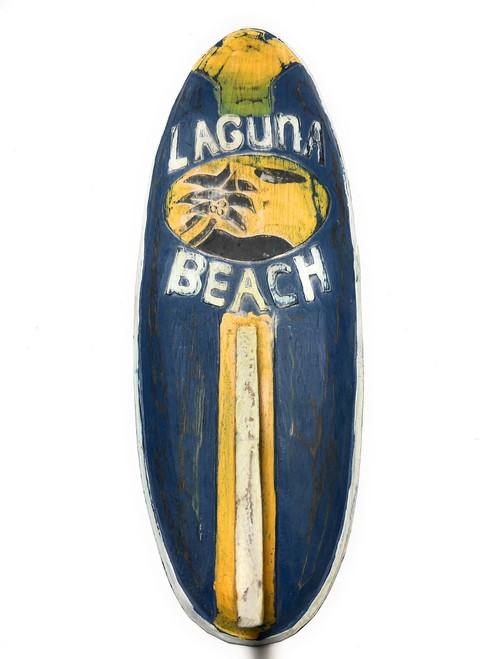 "Laguna Beach Surf Sign 20"" w/ Fin - Surfing Decor Accents | #bds1208450"
