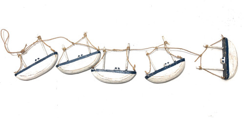 "Garland w/ Cluster Of 5 Sailboats 22"" - Wall Hanging Nautical Decor 