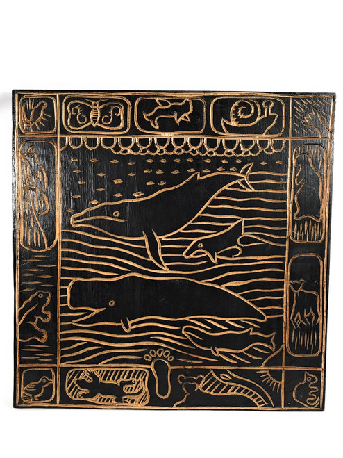 "Whale Scene Hand Carved Storyboard 16"" X 16"" - Hawaii Art 