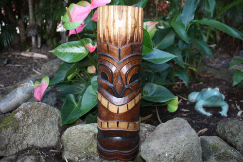 "Happy Tiki Mask 20"" - Antique Finish Hand Carved 