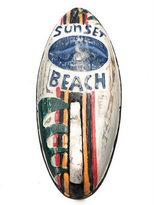 "Sunset Beach Surf Sign 14"" w/ Fin - Surfing Decor Accents 
