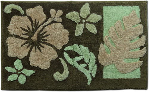 "Hibiscus Rug - Brown 21""x 34"" - Floral Design"
