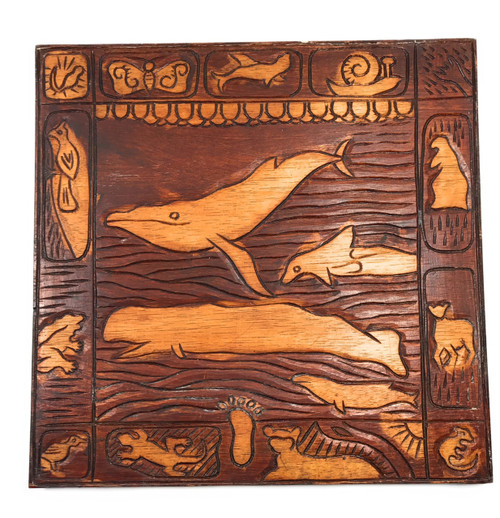 """""""Whale Scene"""" Wooden Relief Storyboard 16"""" X 16"""" 