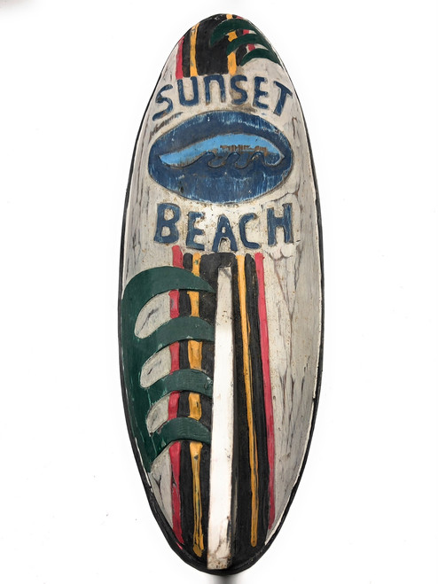 "Sunset Beach Surf Sign 20"" w/ Fin - Surfing Decor Accents 