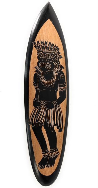 "Wooden Surfboard w/ Tiki Dancer 32"" - Hawaii Decor | #erb26008"