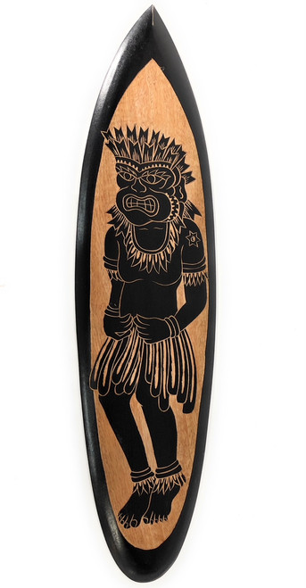 "Wooden Surfboard w/ Tiki Dancer 32"" - Hawaii Decor 