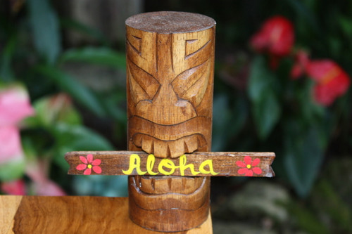 "Money Tiki Totem 6"" w/ Aloha sign - Hawaii Gifts 
