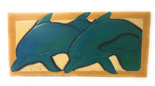 "Dolphins Ohana, Ocean Love 30"" X 15"" -Endangered Species Wall Art 