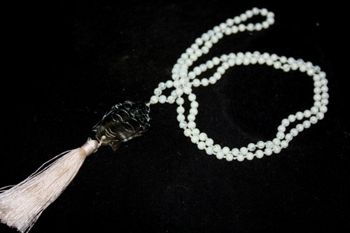 White Bead Resine Buddha Mother Of Pearl Tassel Necklace Jewelry | #cik3602w