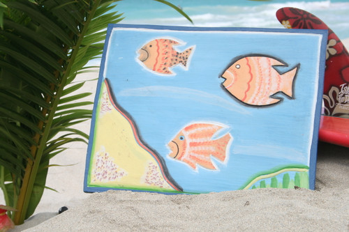 "Ocean & Fish Scene 16"" X 16"" - Wall Hanging Wooden Panel 