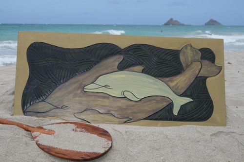 "Dolphin w/ Calf, Endangered Species 30"" X 15"" - Hawaiian Wall Art Wood Panel | #dpt518275"