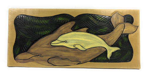 "Dolphin w/ Calf, Endangered Species 30"" X 15"" - Hawaiian Wall Art Wood Panel 