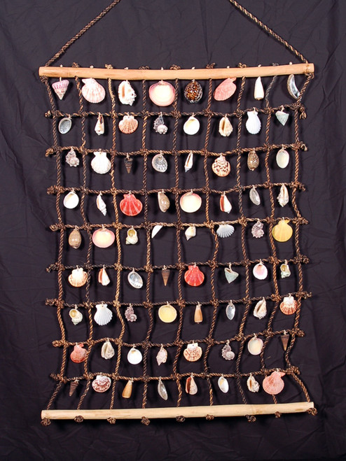 "HANGING SEA SHELL NET 44"" X 30"" - COASTAL DECOR"