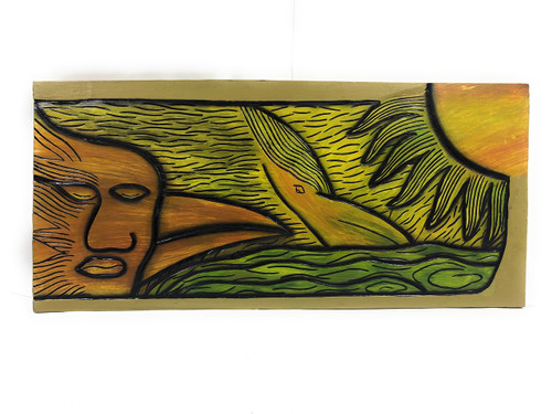 "Human Bird, Over The Sun 30"" X 15"" - Wall Art Wooden Panel 