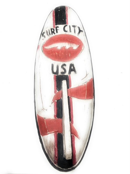 "Surf City, USA Surf Sign 20"" w/ Fin - Surfing Decor Accents 