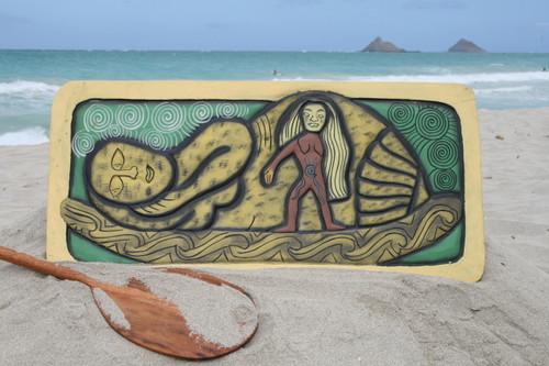 "The Inner Birth, Reincarnation Mana 30"" X 15"" - Tribal Art Wood Panel   #dpt518475"