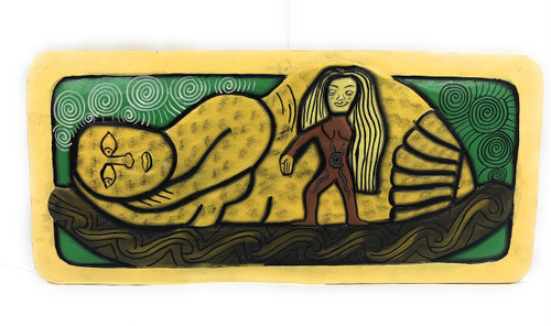 "The Inner Birth, Reincarnation Mana 30"" X 15"" - Tribal Art Wood Panel 