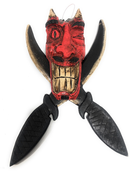 "Tricky Devil Head w/ Cross Swords 15"" - Pirate Decor 