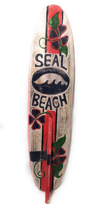"Seal Beach Rustic Surf Sign 40"" - Surfing Decor Accents 