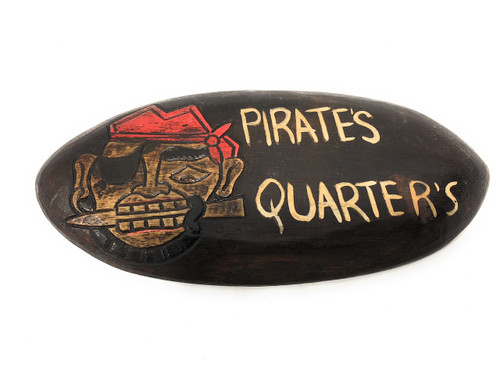 "Pirate's Quarters Sign 12"" w/ Knife - Pirate Decor 