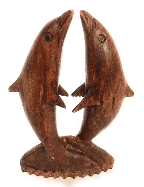 "Kissing Dolphin Jumping 6"" Stained - Hand Carved 