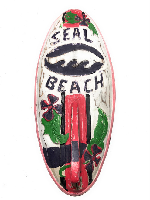"Seal Beach Surf Sign 14"" w/ Fin - Surfing Decor Accents 