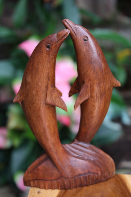 """Kissing Dolphins Jumping 8"""" Stained - Hand Carved 