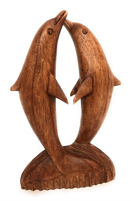 "Kissing Dolphins Jumping 8"" Stained - Hand Carved 