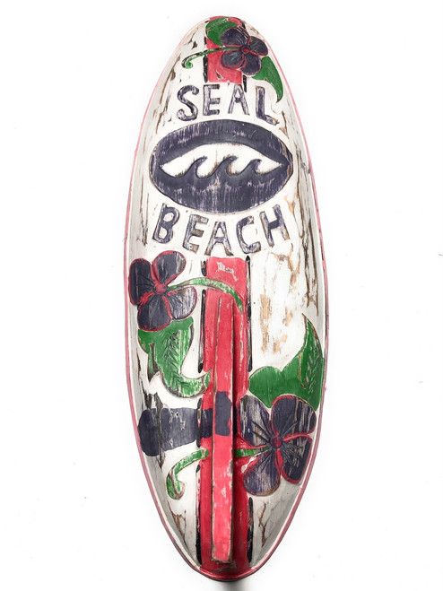 "Seal Beach Surf Sign 20"" w/ Fin - Surfing Decor Accents 