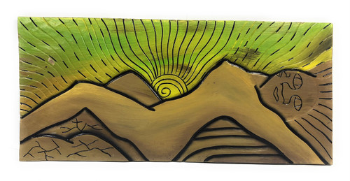 "Mokulua's Goddess, Twin Island 30"" X 15"" - Primitive Art Wood Panel 