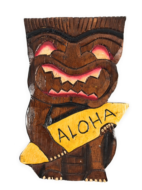 """Surfing Tiki Mask 8"""" w/ Aloha - Wall Plaque Hand Carved   #dpt5393"""