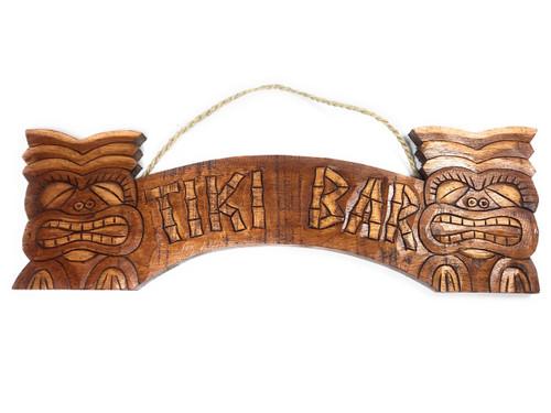 "Tiki Sign w/ Hand Carved Tikis 20"" - Tiki Bar Decor | #dpt539450"