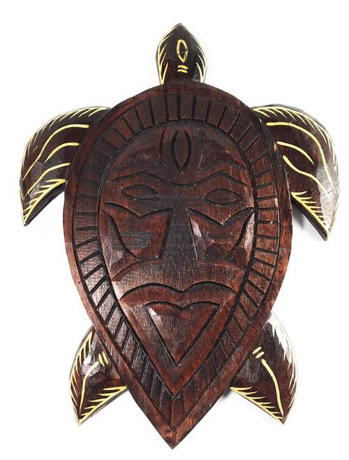 "Primitive Tribal Turtle Tiki Mask 12"" Wall Plaque | #dpt5395l"