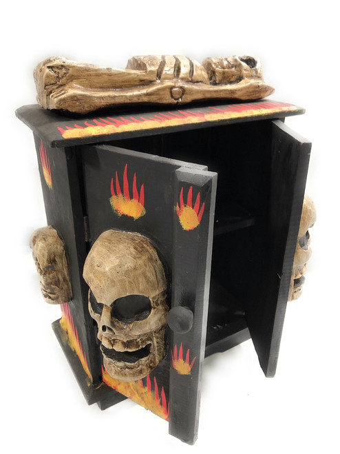 "Armoire w/ Skulls & Flames 12"" X 6"" - Crossbones Decor | #kng21073"
