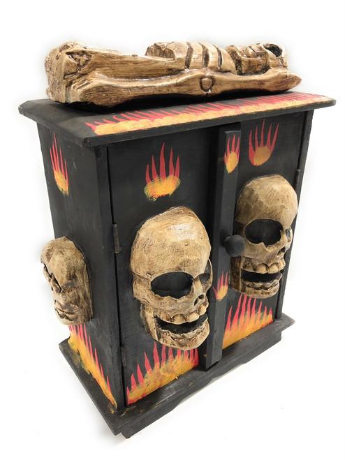 "Armoire w/ Skulls & Flames 12"" X 6"" - Crossbones Decor   #kng21073"