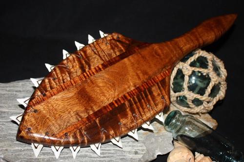 "Curly Koa Lei O Mano War Club 19"" w/ Shark Teeth - Polynesian Art | #koa4119"