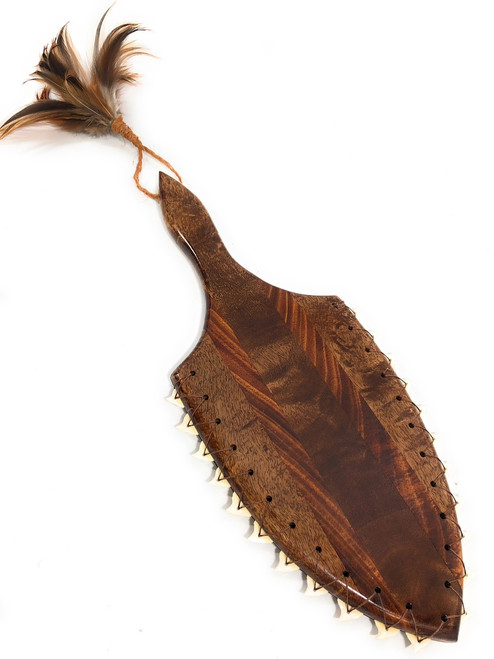 "Hawaiian Koa Lei O Mano 21"" War Club - 22 Shark Teeth 