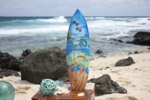 "Surfboard w/ Island Sealife 20"" - Surf Decor Hawaii - Trophy 