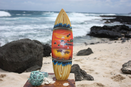 "Surfboard w/ Island Sunset 20"" - Surf Decor Hawaii - Trophy 
