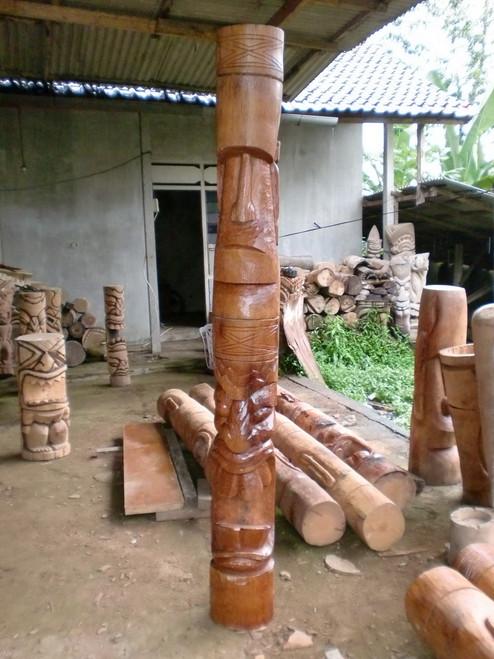 Easter Island Moai & Big Kahuna Tiki Totem Pole 7 Foot | #lbj30017200